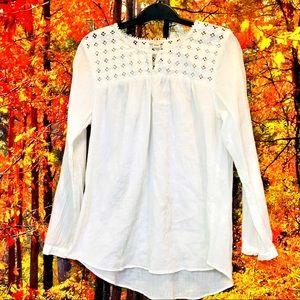 J. Crew white long sleeve blouse medium